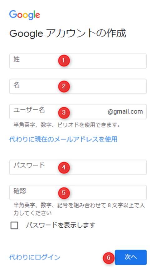 姓名、ユーザー名、パスワードを入力